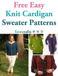 These free easy knit cardigan sweater patterns and beautiful and fun to work up. Keep the flexibility of layering when you make open-front cardigans. All Free Knitting, Easy Scarf Knitting Patterns, Knit Cardigan Pattern, Sweater Knitting Patterns, Sweater Cardigan, Nordic Sweater, Cardigans For Women, Clothing Patterns, Sweaters