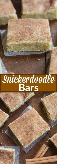 My favorite cookie recipe transformed into the BEST super soft and chewy snickerdoodle bars! No rolling or chilling the dough. These couldn't be easier to make. I have a serious sweet tooth problem Potluck Desserts, Just Desserts, Dessert Recipes, Bar Recipes, Dessert Healthy, Fall Desserts, Snickerdoodle Bars Recipe, Baking Recipes, Gourmet