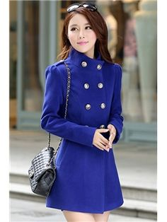 Vintage High Waist Stand Collar Woolen Overcoats