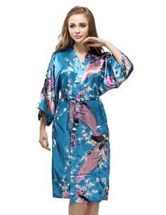Turquoise Satin Peacock Kimono Robe, Wedding Kimono Nightgown, Short