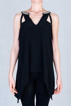 Asymmetrical loose fit top featuring silver beads embellished neckline