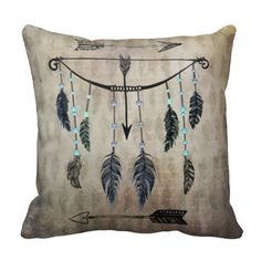 Bow, Arrow, and Feathers Throw Pillows