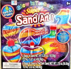Amazon.com: Glow in the Dark Super Sand Art Kit - 6 Sand Art Projects: Toys & Games
