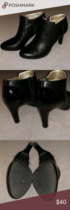 "Bandolino Liron leather ankle booties NWOT 9M New! I had purchased two pairs of these leather booties and decided to keep the 8.5m. I failed to return the 9 so now they're up for sale. Hitting just above the ankle, this bootie can double as a shootie. It has coordinating patent heel. Perfect for your dressy outfits or elevating your casual look. 3"" heel, almond toe, lightly padded footbed, and zipper closure at the side of shaft. I love my 8.5 Liron bootie! Bandolino Shoes Ankle Boots…"
