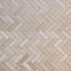 Herringbone Pattern Natural Stone Mosaics - Travertine Grey / Various / Polished