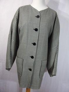 Jean Muir  Studio 10 jacket black white checkered button down front Long J5 #JeanMuir #BasicJacket