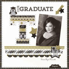 Brand New Doodlebug:  The Graduate Collection - Scrapbook.com - Doodlebug's The Graduate Collection featuring black, white, silver and gold compliments any school colors!
