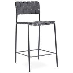 Sgabello in metallo con sedile e schienale rivestiti con cinghie