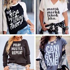 "Such cool Christian shirts ;) I especially like the one that says ""matt & mark & luke & john""."