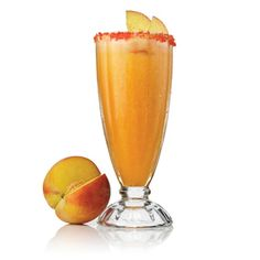 "Georgia Peach Margarita   Patrón Reposado, Patrón Citrónge, peach schnapps, peach sorbet, lime juice, peach sugar   View the recipe by clicking through and going to ""Drink Maker."""