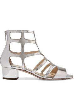 Jimmy Choo - Ren Cutout Mirrored-leather Sandals - Silver - IT40.5