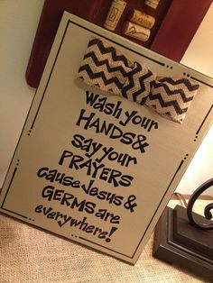 Ready to Ship  Wash Your Hands and Say Your by GreenPearlPaintshop, $26.50