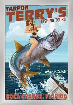 Boca Grande, Florida - Pinup Girl Tarpon Fishing - Lantern Press Artwork (16x24 Giclee Art Print, Gallery Framed, Silver Wood), Multi