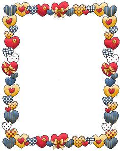 """Colors of the hearts"" Boarder Designs, Page Borders Design, Printable Border, Free Printable Stationery, Boarders And Frames, Cute Frames, Borders For Paper, Frame Clipart, Paper Frames"