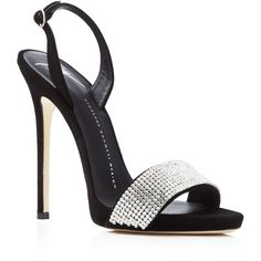 Giuseppe Zanotti Coline Embellished Slingback High Heel Sandals ($995) ❤ liked on Polyvore featuring shoes, sandals, black, kohl shoes, black embellished sandals, black sandals, heeled sandals and embellished sandals
