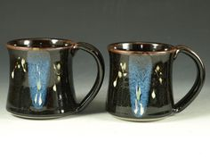 Pair of pottery Mug 14oz in tenmoku black  & blue by Hodakapottery, $40.00