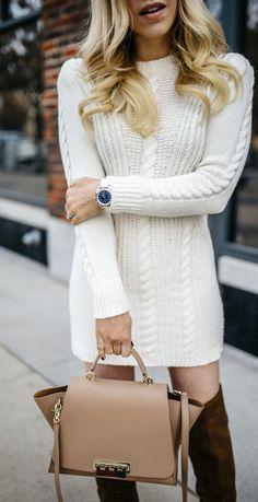 The cutest cable knit sweater dress + goals, dreams, more beauty please - Allyson in Wonderland #winterstyle #winterfashion #winteroutfit #gucci #zacposen #sweaterdress