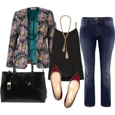 Switch the jeans for a pencil skirt and the floral blazer for a plain one