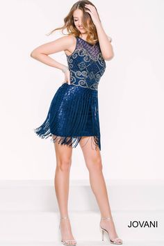 Release your inner vintage 1920's flapper in this #jovani 33962 fringe and beaded dress.