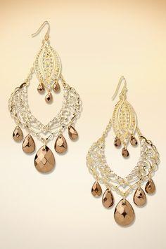 Stone dangling chandelier earrings #BostonProper #SS15
