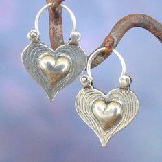 Herz Ohrringe  Sterling silber  hoop von BobsWhiskers auf Etsy