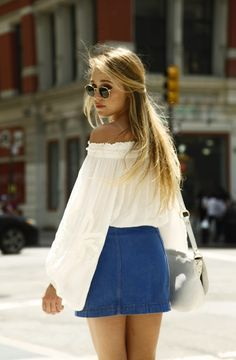 Off the shoulder top with denim skirt.