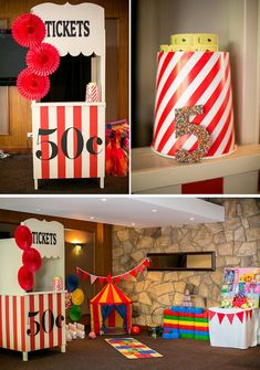 Party Ideas / Circus or Carnival Circus Carnival Party, Circus Theme Party, Carnival Birthday Parties, Carnival Themes, Circus Birthday, Birthday Party Decorations, Vintage Carnival, Vintage Circus, 5th Birthday