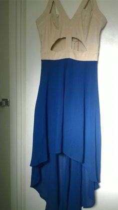 Women's L'atiste by Amy Blue & Beige Asymmetrical High Low Dress Size Medium #Latiste #AsymmetricalHem