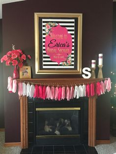 Kate Spade inspired bridal shower decor by the fireplace.  Etsy shop for the poster:  https://www.etsy.com/shop/inkmebeautiful