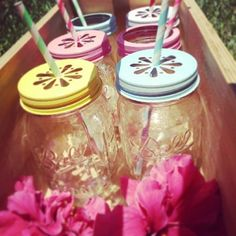 Mason Drinking Jars/Tumblers with Pewter Petal Lid and Paper Straw of various colours Australia
