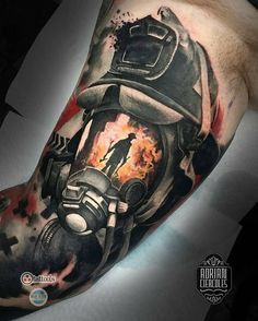 Firefighter tattoo by @adriancier who is currently on the road. Visit his page…