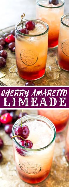 Tart, sweet, and with a trace of caramel and almonds, my 3 Ingredient Cherry Amaretto Limeade is the ideal method to begin your end of the week. Holiday Drinks, Party Drinks, Cocktail Drinks, Fun Drinks, Healthy Drinks, Cherry Cocktails, Aperitif Drinks, Pomegranate Drinks, Cocktail Recipes