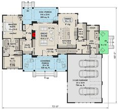 Modern Farmhouse with Vaulted Master Suite - 14661RK floor plan - Main Level