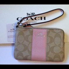 """Coach Signature PVC/Leather Corner Zip Wristlet Coach Signature PVC/Leather Corner Zip Wristlet SV/Light Khaki Petal   ~ Signature PVC Wristlet  ~ Petal Pink Leather Strap, Stipe, Trim & Hangtag  ~ 2 inside slip pockets  ~ 6 1/4"""" x 4"""" New with tags , care card & gift box.  ( Was 75.00 Marked Down to 59.00 ) No Trades No Holds Coach Bags Clutches & Wristlets"""