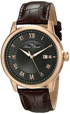 Lucien Piccard Men's LP-12758-RG-01 Solstice Rose Gold Ion-Plated Watch with Brown Leather Band