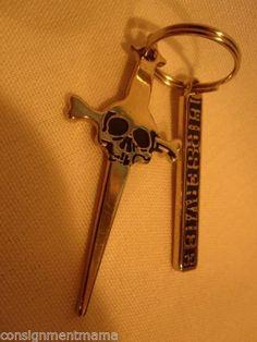 Lip-Service-Rare-25-yr-Anniversary-Silver-Dagger-Skull-Bones-Pointed-Keychain