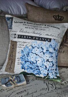 Couverture de coussin,... le coton bleu Hortensia et toile de jute