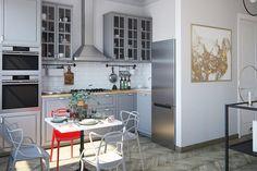 Egy kis párizsi lakás hangulata 36m2-en - egyszobás otthon, szürke konyha, hálófülke, halszálka parketta