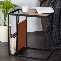 Avignon Sofa End Table Coffee Side Table Accent Table in Iron Frame and Mango Wood Top with Magazine Holder in Real Leather ** Visit the image link more details. (This is an affiliate link) Console Table Living Room, Couch Table, Sofa Side Table, Side Table With Storage, Living Room Sofa, Living Room Modern, Living Room Furniture, Small End Tables, Glass Side Tables