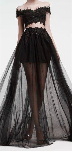 Two piece + black + sheer + crop top + floor length skirt + hi low