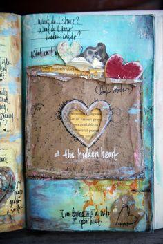 Art Journal inspiration: The hidden heart journal. Definitely watch the video if you wanna make an art journal, but don't know where to start. Journal Inspiration, Altered Books, Art Projects, Art, Book Art, Paper Art, Altered Art, Mixed Media Art Journaling, Heart Journal