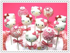 These adorable Hello Kitty cake pops listing is for a set of dozen(as shown in picture). 8 Hello Kittys and 4 matching round cake pops. Hello Kitty Baby Shower, Hello Kitty Birthday, Cake Pops, Torta Hello Kitty, Anniversaire Hello Kitty, Bolo Cake, 3rd Birthday, Birthday Parties, Marshmallow Pops