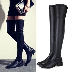 Women Black Pu Leather Slim Thigh High Over Knee Boots Oxfords Leg Booties Shoes