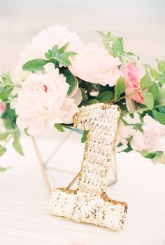 Sequin Table Number by Makingmeevents on Etsy, $22.50