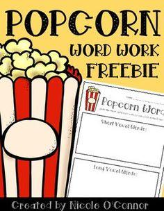 Popcorn word work center!! Free!!!