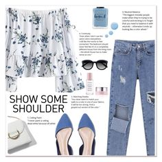 Off -Shoulder Tops by ladydzsen on Polyvore featuring polyvore fashion style Ace Lauren B. Beauty By Terry Topshop clothing Blue showsomesoulder