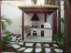 love the curve of the stairs mirroring the turret Outdoor Decor, House Design, Future House, Small Backyard, Outdoor Living, Backyard Decor, Stone Houses, Pizza Oven Outdoor, Outdoor Kitchen