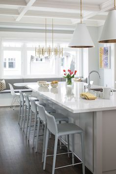 White Kitchen with island & eating buffet. Love the chairs at the island. Dunbar-Southlands House by Terris Lightfoot Contracting Home Decor Kitchen, Kitchen Interior, New Kitchen, Home Kitchens, Kitchen Island, Stylish Kitchen, Kitchen Stools, Kitchen Layout, Bar Stools