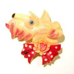 Vintage Celluloid Scottie Dog Pin