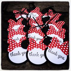 Minnie Mouse Favor Tags - Thank you tags - Classic MInnie Red and White Polkadot 12 via Etsy Minnie Mouse Birthday Theme, Minnie Mouse Favors, Mickey Mouse Baby Shower, Mickey Minnie Mouse, Second Birthday Ideas, 2nd Birthday Parties, Mickey Mouse And Friends, Mouse Parties, Favor Tags